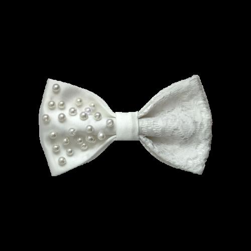 Bela satenska mašna sa čipkom i perlama