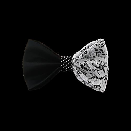 Mašna od crnog satena presvučena čipkom