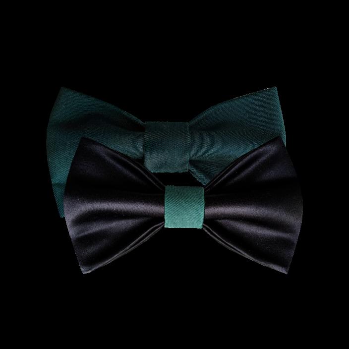 Kombinacija mašni od crnog satena i zelenog kepera