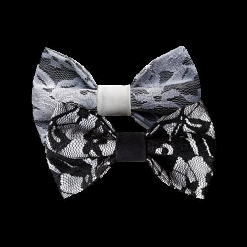 Kombinacija crno-belih čipkanih mašni za parove